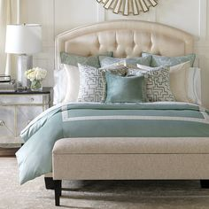 The Central Park Bedding Collection features a mix of abstract patterns and botanical prints. The soft aqua and cream colors create a calming ambience,    making this collection an exceptional addition to any bedroom.            Duvet cover is 53% rayon, 17% cotton, 30% polyester                King and standard shams are 100% polyester                Euro shams are 65% polyester, 35% cotton                Cassis decorative pillow is 52% cotton, 48% rayon                Lucerne decorative...