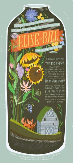 Anne Benjamin: Illustration: Terrarium Wedding Invite