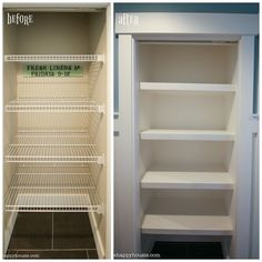 How to Replace Wire Shelves with DIY Custom Wood Shelves A step by step tutorial about how to replace builder basic wire shelves with DIY. Diy Closet Shelves, Wire Closet Shelving, Hallway Closet, Pantry Shelving, Linen Closet Organization, Closet Bedroom, Metal Shelving, Building Shelves In Closet, Kitchen Storage