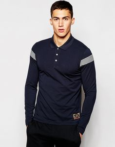 Image 1 of Emporio Armani Polo ShirtIn Muscle Fit With Shoulder Stripe Kurta Designs, Polo Rugby Shirt, Rugby Shirts, Long Sleeve Polo, Long Sleeve Shirts, Polo Shirt Design, Summer Tshirts, Emporio Armani, Shirt Designs