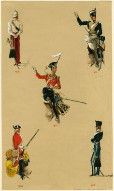 11th Hussars, Officer, 1878, Private.1815 , Officer, 1822, Private, 1742 & Officer, 1836.by Reginald Augustus Wymer