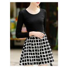 Long Sleeve Plaid Zipper A-Line Dress ($29) ❤ liked on Polyvore featuring dresses, black longsleeve dress, black zipper dress, zip dress, black dress and long sleeve black dress