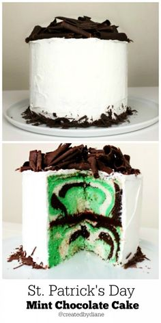 Patricks Day Mint Chocolate Chip Cake Created by Diane Chocolate Chip Cake, Mint Chocolate Chips, Homemade Chocolate, Chocolate Chocolate, Cheesecakes, Just Desserts, Delicious Desserts, Romantic Desserts, Yummy Food
