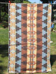 Vintage Indian Camp Blanket - Crib, Single, Lap Size - Brown, Turquoise, Black, Yellow. $35.00, via Etsy.