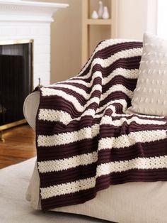 Free Pattern - This lovely Herringbone Afghan is a simple, elegant classic.