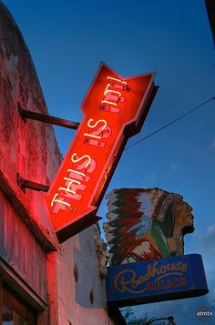 Roadhouse Relics. Look for the artist Todd Sanders, who uses a number of weathering techniques to create faux vintage neon using durable modern materials. Be sure to take your picture by the Austin mural on the side of the building.