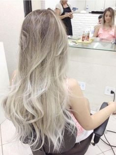 NEXT HAIR APPT. Ash brown on top to a platinum blonde on bottom, messy long cut layers.