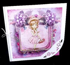 girl framed mini kit on Craftsuprint designed by Cynthia Berridge - made by Diane Hitchcox - I printed out onto 220 gram card ,then mounted on a corner punched card ,decoupaged using sticky pads and attached a beaded elasticated bow down spine. - Now available for download!
