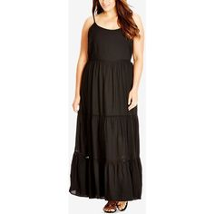 City Chic Plus Size Tiered Maxi Dress ($74) ❤ liked on Polyvore featuring plus size women's fashion, plus size clothing, plus size dresses, black, bohemian style dresses, bohemian dress, plus size maxi dresses, tiered dress and women plus size dresses