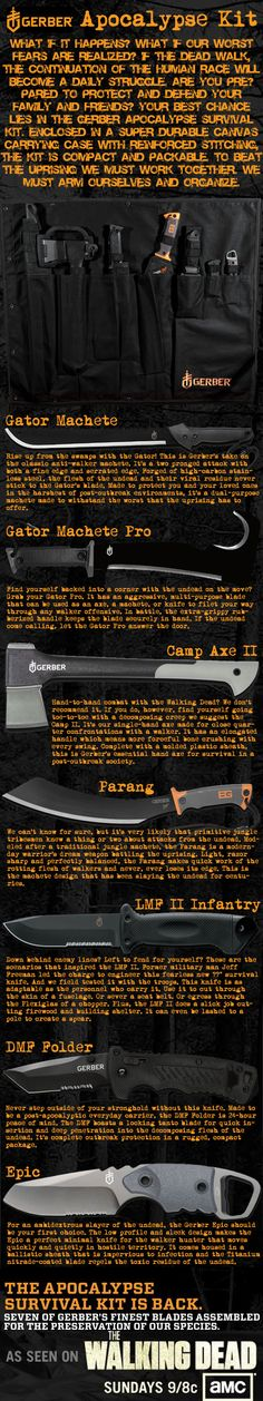 Gerber Apocalypse Kit, featuring 7 awesome knives and axes, as featured on AMC's The Walking Dead #gear #adventure #zombies