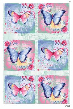 Vintage Butterflies Art Licensed to Studio E for Quilt Fabric