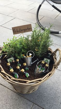 """I made """"Herb Garden"""" as a housewarming gift for a friend. - I made """"Herb Garden"""" as a housewarming gift for a buddy. I made """"Herb Garden"""" as a housewarming gif - Anniversary Gifts For Parents, Anniversary Decorations, Birthday Decorations, Diy Gifts For Girlfriend, Idee Diy, Garden Gifts, Herb Garden, Birthday Presents, Gift Baskets"""