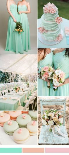 mint wedding color ideas and sweetheart long bridesmaid dresses 2015