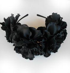 Black fabric flowers Black fascinator Bridal от Flowerartstudio, $40.00