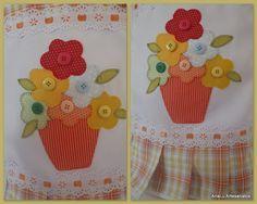 pano de prato em patchwork com vaso de flores - Pesquisa Google