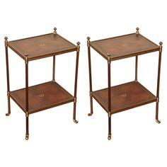"""Althorp"" Two-Tier Brass and Leather-Lined Low Tables 1"