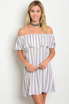 Short Off the Shoulder Ruffle Striped Tunic Dress