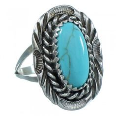 Navajo Authentic Sterling Silver Turquoise Ring Size 8-1/2 AX102536