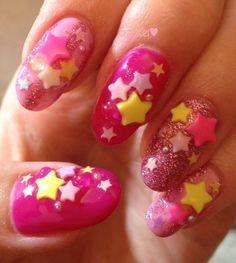 pop stars nail #nailart #gel #nail #star #glitter