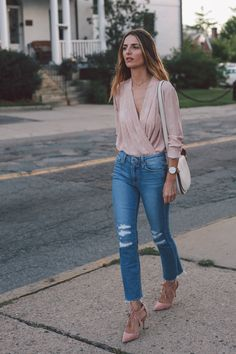 blush wrap blouse paige straight leg jeans ann taylor blush heels prosecco and plaid