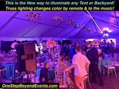 New style Tent Wedding Lighting Our Backyard Tent Wedding LED Lighting Bars are Spectacular! We do all the work! Draping the backyard with colored Downlighting is Amazing! Elegant Light Up LED Table Uv Black Light, Light Up, Event Lighting, Wedding Lighting, Outdoor Lighting, Backyard Tent Wedding, Disco Theme Parties, Glow Table, Chandelier Centerpiece