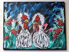 Chicken Wall Art, Original Acrylic Painting on Canvas, Whimsical Rooster Kitchen Home Decor, Rustic Farmhouse Wall Art, Handpainted Gift Acrylic Paintings, Acrylic Painting Canvas, Your Paintings, Animal Paintings, Original Paintings, Canvas Paintings, Chicken Painting, Chicken Art, Chicken Signs