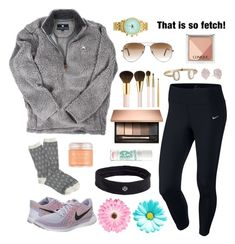 """""""☀️"""" by evamstewart24 ❤ liked on Polyvore featuring NIKE, Kendra Scott, J.Crew, lululemon, Sara Happ, AERIN, Ray-Ban, Clinique and NLY Accessories"""