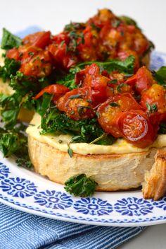 Hummus, Crispy Kale & Thyme Roasted Tomato Toast   www.rachelphipps.com @rachelphipps