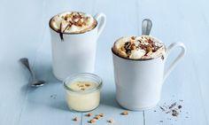 Caramel Hot Chocolate - Rezepte - Schweizer Milch Hot Chocolate, Panna Cotta, Ethnic Recipes, Latte, Food, Cacao Powder, Caramel, Milk, Simple
