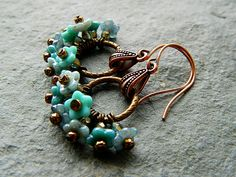Turquoise & Grey Flower Cluster Dangle by HandmadebyValentina