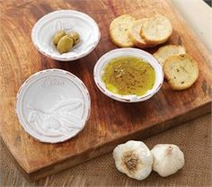 This Olive pattern is my very favorite...I would love to have a total dish set like this....I have never seen one...Please!!!  VY...This says:Olive Oil Dipping Cup Set | Living | Mud Pie