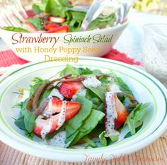 Strawberry Spinach Salad {with Honey Poppy Seed Dressing} - Family Table Treasures Celebrate the coming of Spring with this Strawberry Spinach Salad {with Honey Poppy Seed Dressing}! Healthy and Delicious!