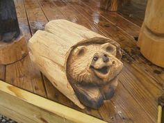 Cute Log Bear Chainsaw Carved Wood Sculpture by crafts4all on Etsy, $110.00