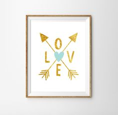 Gold Love Print for a Baby Girl or Boy's Nursery - Tribal Print - Print for the Home - Instant Download Wall Art - Print at Home by SunshinePrintsCo on Etsy