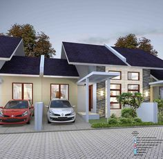 35 Trendy ideas for house front view architecture Bungalow House Design, Small House Design, Modern House Design, Minimalist House Design, Minimalist Home, Er6n, Casas The Sims 4, Small House Floor Plans, Futuristic Home
