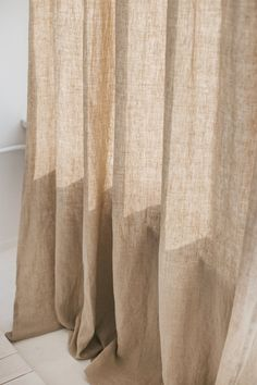 Wide Linen Curtain / Natural Linen Window Drape Our natural linen curtains will enrapture you with simple forms, clear colors, extreme comfort, quality and a breath of nature in your home. This handmade item is long lasting, nature-friendly Grey Linen Curtains, Curtains Living, Window Drapes, Panel Curtains, Minimalist Curtains, Natural Curtains, Deco Design, Home And Deco, Natural Linen