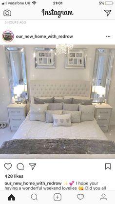 Home Remodeling Bedroom headboard - Teen Bedroom ideas - Glam Bedroom Decor, Bedroom Inspirations, Bedroom Interior, Bedroom Makeover, Bedroom Design, Luxurious Bedrooms, Grey Bedroom Decor, Bedroom Decor, Apartment Decor