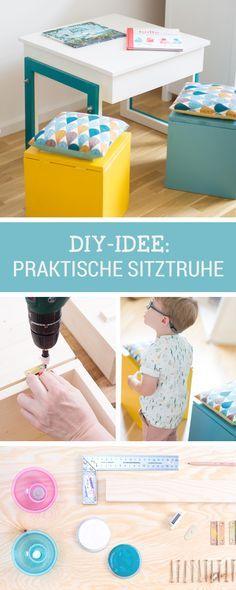 Kinderzimmer DIY: Selbstgemachte Sitztruhe mit viel Stauraum für Kleinkram und Spielzeug / nursery diy: storage bench for children in happy colours via DaWanda.com