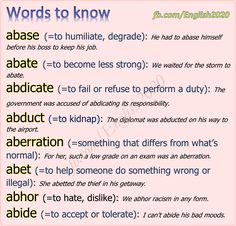 Vocabulary - Words to know