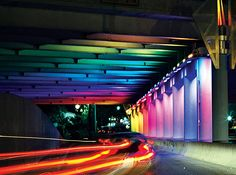 2007, Two underpasses varying in height from 7′-14′ and approx. 120′ in length, San Antonio, Texas.  Perforated aluminum, concrete, and computer controlled LED lights. Using two...