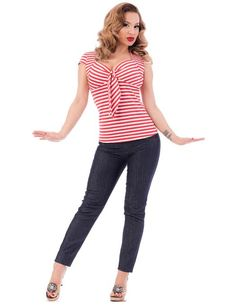 Striped Sweetheart Tie Top by Steady- Red & White