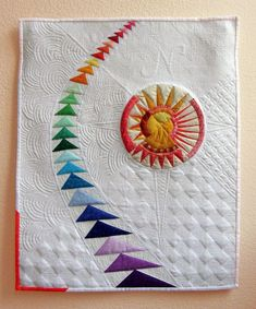 Aurora Borealis, original quilt by Tami Levin, photographed by Marilyn/Spiced Coffee (quilt owner) Small Quilts, Mini Quilts, 3d Quilts, Machine Quilting Designs, Quilting Projects, Quilting Ideas, Paper Piecing Patterns, Quilt Patterns, Flying Geese Quilt