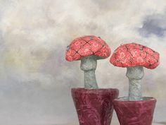 Seeligkeitssachen, Pilze, Papiermaché, mushrooms, papermache #pilze #mushrooms papiermache #blumentopf