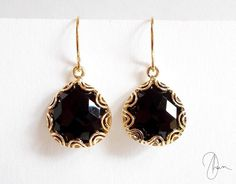 Black Crystal Earrings  Gold Plated Filigree by DharaJewellery