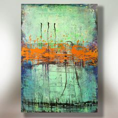 Art Painting Canvas painting ORIGINAL ABSTRACT PAINTING on canvas Orange Interruption 36''x24'' Acrylic on Canvas on Etsy, $148.00
