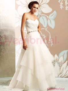 New Style Unique Princess Sweetheart Beading Ruched Tired Long White Organza Wedding Dress Under 200 WAD-877