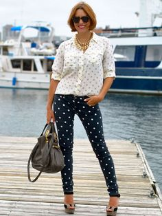 My Style Pill's Christine Cameron rocks dots on dots in 17 Ways to Wear...Polka Dots:  http://www.seventeen.com/fashion/tips/ways-to-wear-polka-dots