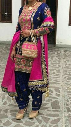 Elegant Navy Blue And Magenta Embroidered Suit For More Details whatsapp Us : (Get Ready your own design in any color and on any fabric, Just contact us) Reet Glamour Boutique Indian Suits, Indian Wear, Ladies Suit Design, Punjabi Suits Party Wear, Suits For Women, Clothes For Women, Trendy Suits, Bollywood Outfits, Indian Outfits