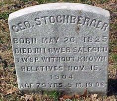 "George Stoghberger died in Lower Salford Township, PA. He is among a row of ""Vagrants"" who were given burials and markers in the cemetery of the Lower Salford Mennonite Church."