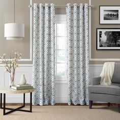 Semi-Opaque Crackle Blue Mist Grommet Top Single Curtain Panel - 52 in. W x 95 in. L